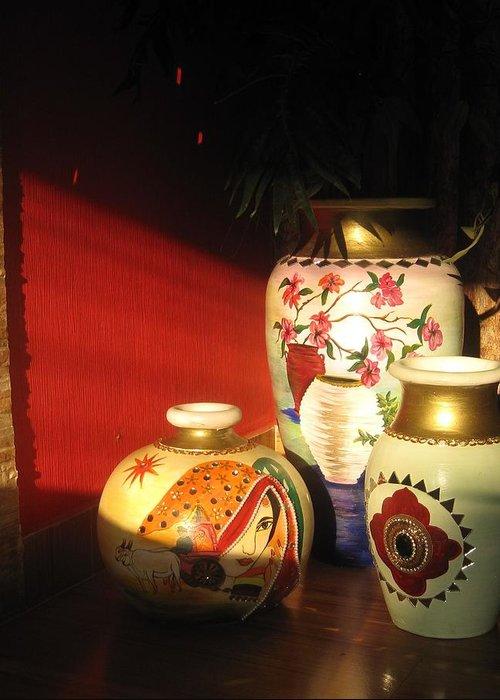 Golden Sunlight Greeting Card featuring the ceramic art Sunlight On Pots by Xafira Mendonsa