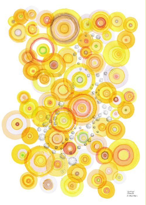 Happy Greeting Card featuring the drawing Sunlight Ripples by Regina Valluzzi