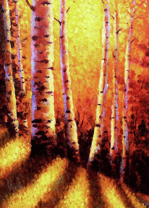 Sunlight Greeting Card featuring the painting Sunlight Through The Aspens by David G Paul