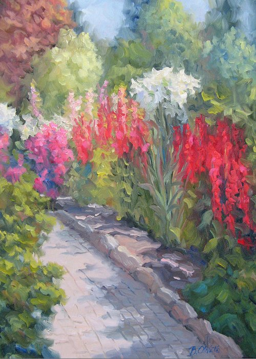 Garden Greeting Card featuring the painting Sunlit Garden by Bunny Oliver