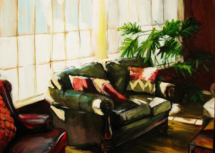 Interior Greeting Card featuring the painting Sunlit by Michelle Winnie