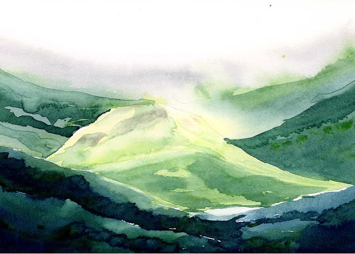 Landscape Greeting Card featuring the painting Sunlit Mountain by Anil Nene