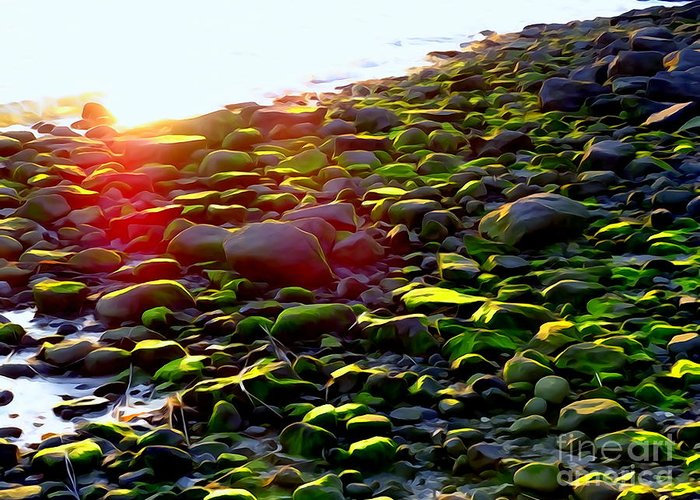 Abstract Greeting Card featuring the photograph Sunlit Stones by Ed Weidman