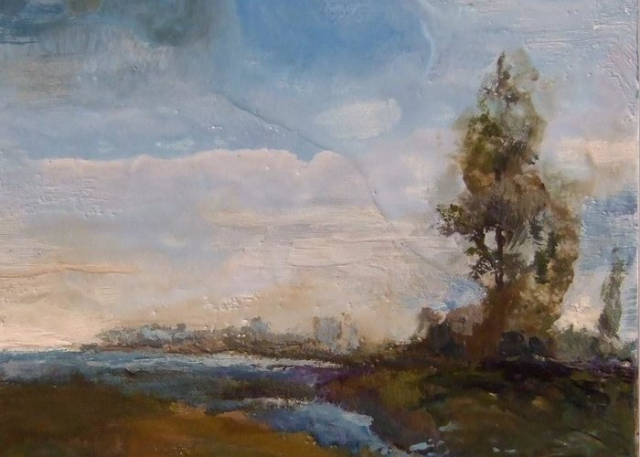Stream Greeting Card featuring the painting Sunlit Stream by Ruth Stromswold