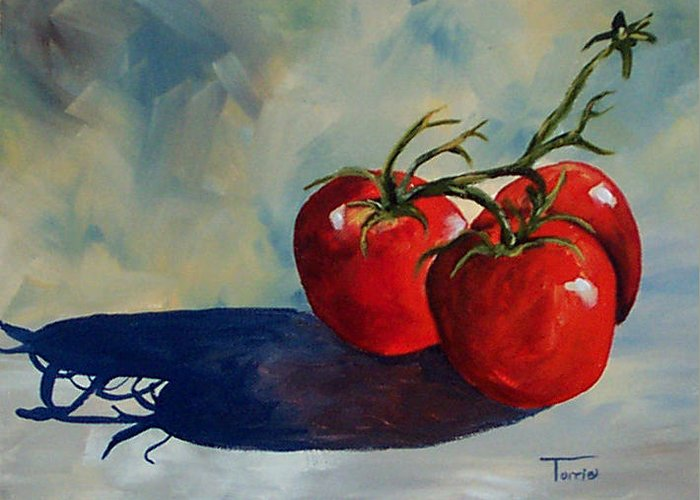 Tomato Greeting Card featuring the painting Sunlit Tomatoes by Torrie Smiley