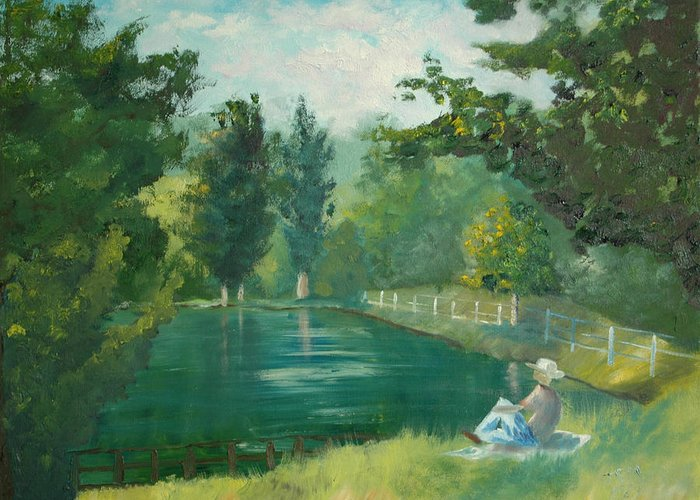 Landscape Greeting Card featuring the painting Sunny Afternoon by James Eugene Moore