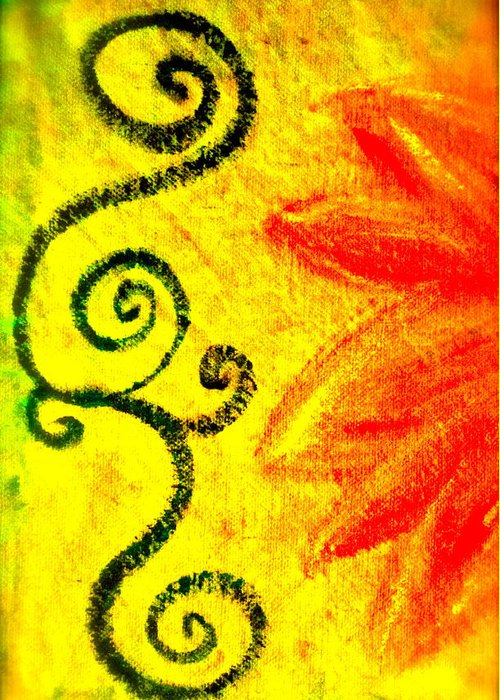 Painting Of Red Flower Greeting Card featuring the mixed media Sunny Day Red by Gwyn Newcombe