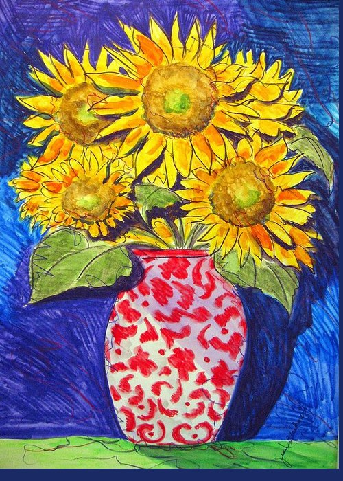 Sunflower Greeting Card featuring the painting Sunny Disposition by Jean Blackmer