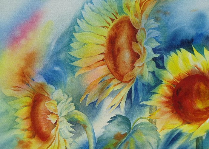 Sunflowers Greeting Card featuring the painting Sunny Flowers I by Tara Moorman