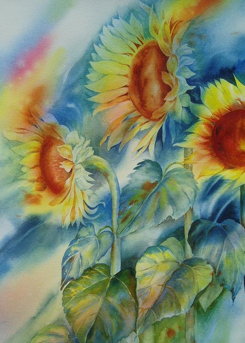 Sunflowers Greeting Card featuring the painting Sunny Flowers by Tara Moorman