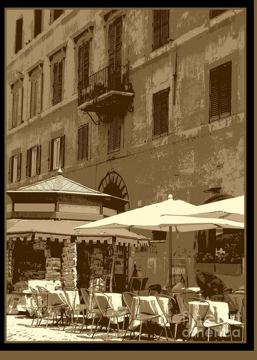 Italy Greeting Card featuring the photograph Sunny Italian Cafe - Sepia by Carol Groenen
