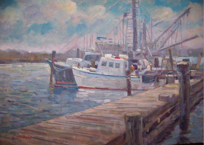 Fishing Boats At A Long Island Marina Greeting Card featuring the painting Sunny Marina by Bart DeCeglie