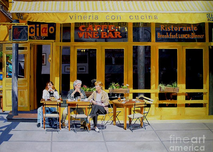 Greenwich Village Greeting Card featuring the digital art Sunny Side Of Bleecker by Lou Spina