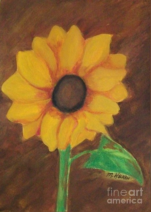 Sunflower Greeting Card featuring the pastel Sunny Side Up by Marsha Heiken