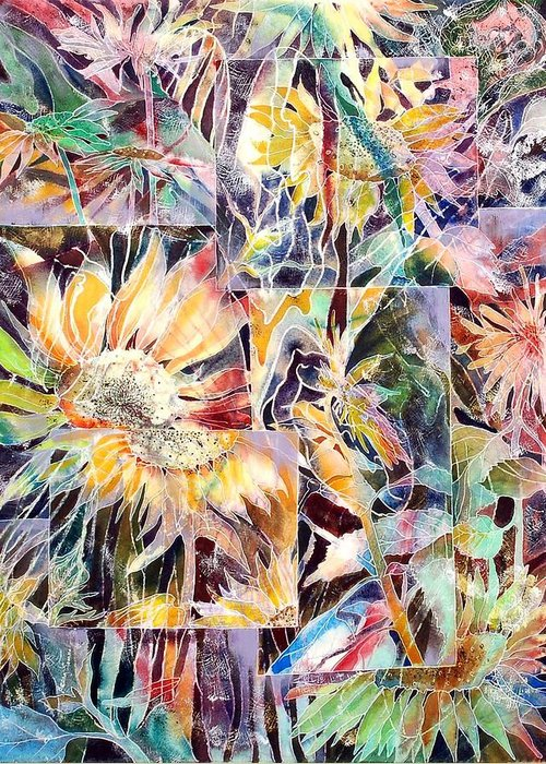 Sunflowers Greeting Card featuring the painting Sunnyflowers by Beena Samuel
