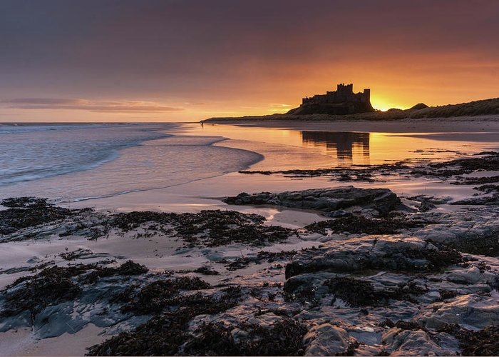Sunrise Greeting Card featuring the photograph Sunrise at Bamburgh Castle #4, Northumberland, North East England by Anthony Lawlor
