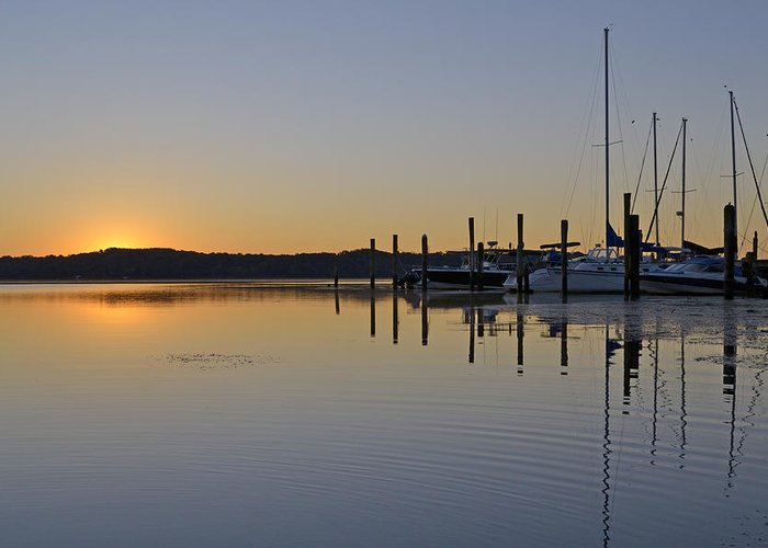Potomac Greeting Card featuring the photograph Sunrise At Belle Haven Marina In Alexandria Virginia by Brendan Reals