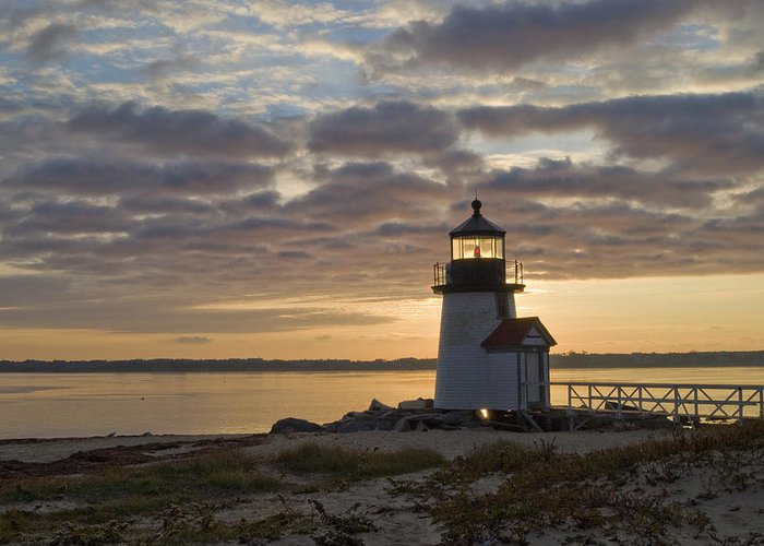Krauzyk Greeting Card featuring the photograph Sunrise At Brant Point Nantucket by Henry Krauzyk