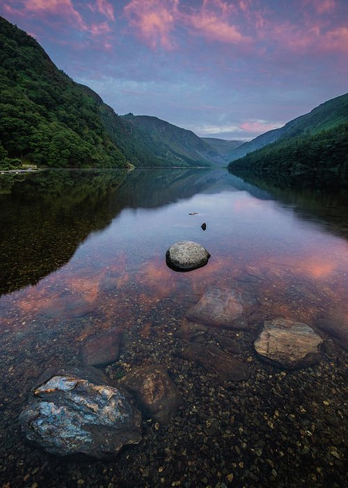Sunrise Greeting Card featuring the photograph Sunrise at Glendalough Upper Lake #2, County Wicklow, Ireland by Anthony Lawlor