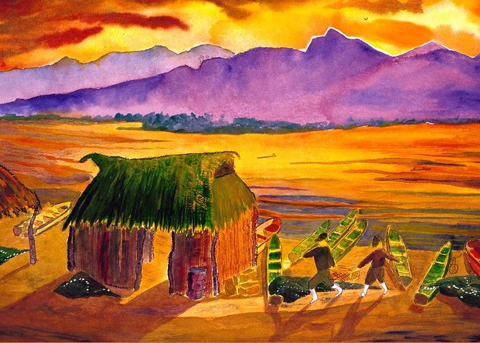 Seascape Greeting Card featuring the painting Sunrise At La Brecha by Buster Dight