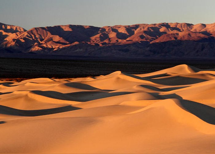Death Valley Greeting Card featuring the photograph Sunrise At The Mesquite Sand Dunes by Pierre Leclerc Photography