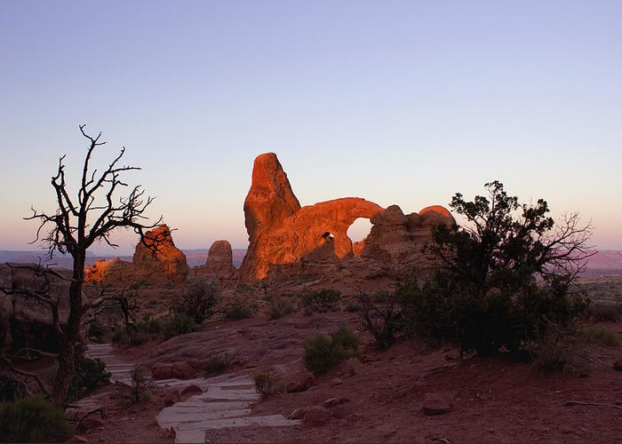 Tower Arch Greeting Card featuring the photograph Sunrise At Tower Arch by Ellen Heaverlo