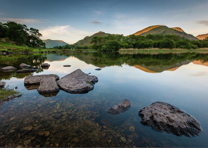 Lake District Greeting Card featuring the photograph Sunrise at Ullswater, Lake District, North West England by Anthony Lawlor