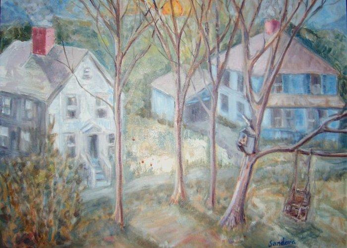 Street Backyard Blue House Landscape Greeting Card featuring the painting Sunrise Blue House Ats by Joseph Sandora Jr
