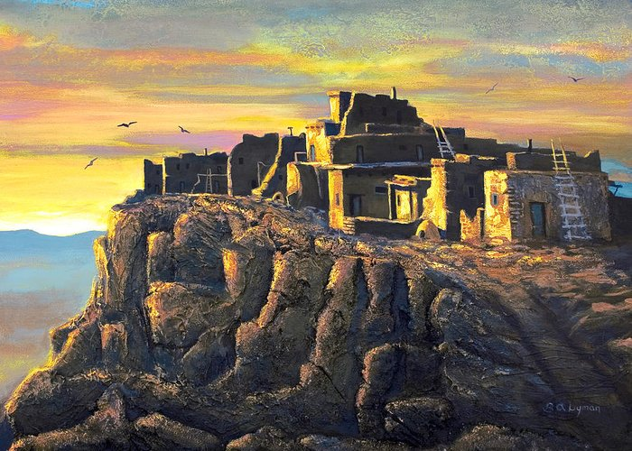 Landscape Greeting Card featuring the painting Sunrise Citadel by Brooke Lyman