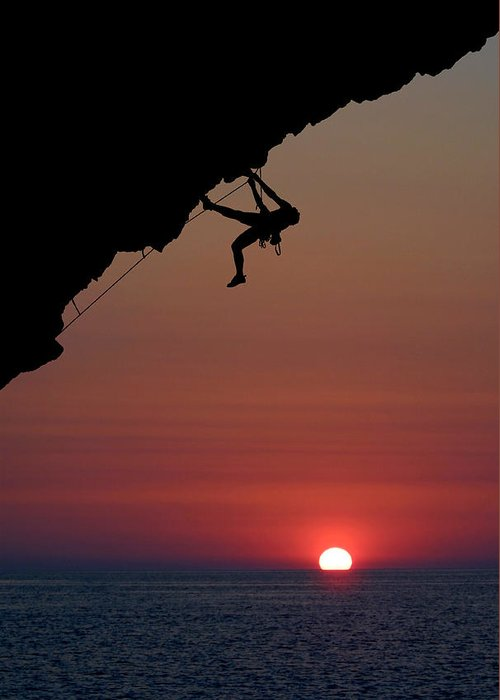 Climbing Greeting Card featuring the photograph Sunrise Climber by Neil Buchan-Grant
