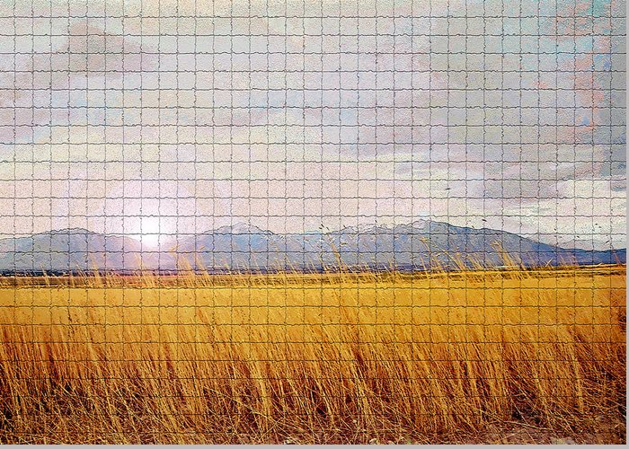Sunrise Greeting Card featuring the photograph Sunrise Field 1 - Mosaic Tile Effect by Steve Ohlsen