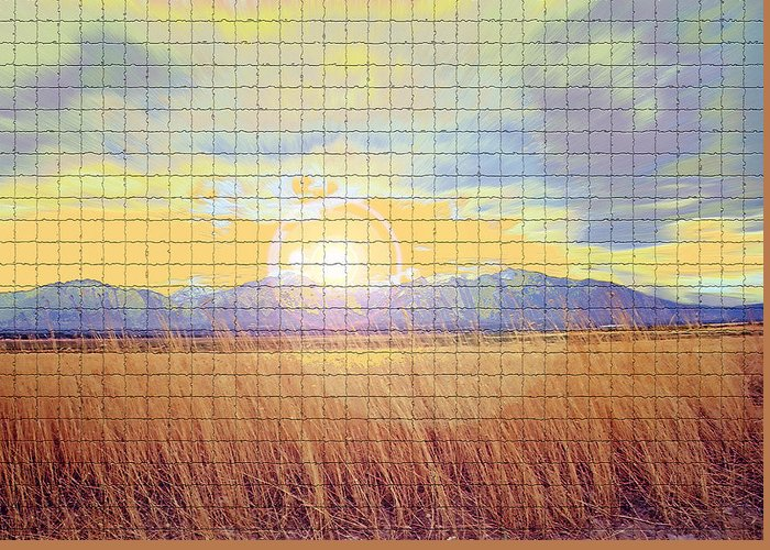 Sunrise Greeting Card featuring the photograph Sunrise Field 2 - Mosaic Tile Effect by Steve Ohlsen