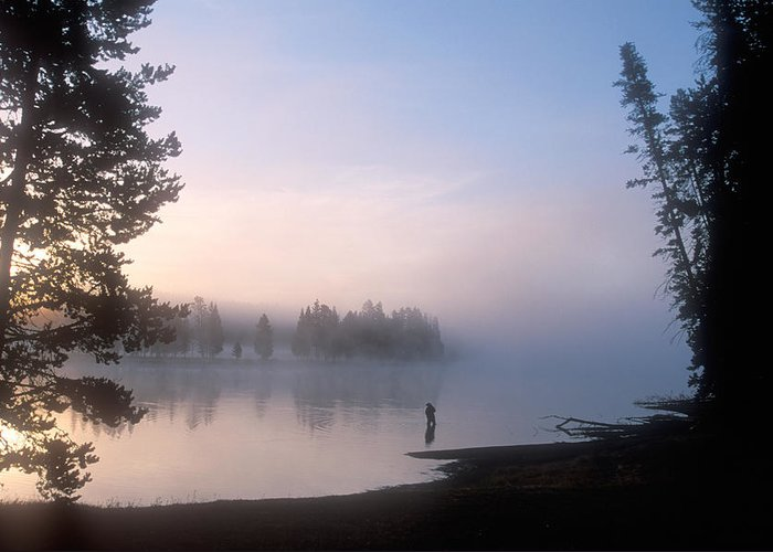 Wyoming Greeting Card featuring the photograph Sunrise Fishing In The Yellowstone River by Michael S. Lewis