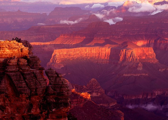 Grand Canyon National Park Greeting Card featuring the photograph Sunrise From Mather Point by Brian M Lumley