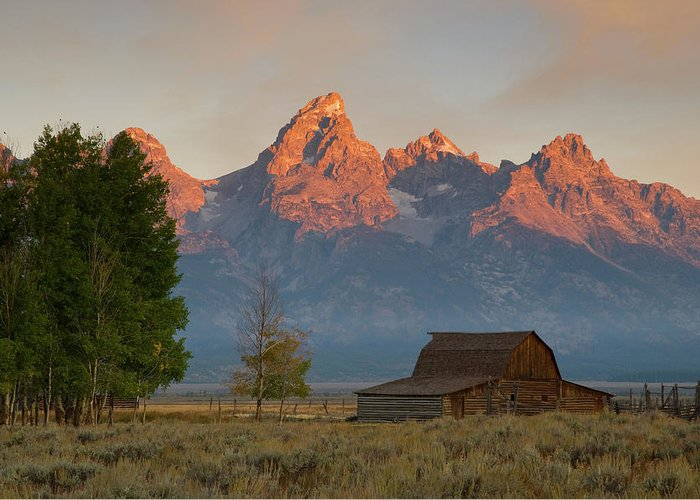 Grand Teton Greeting Card featuring the photograph Sunrise In Jackson Hole by Steve Stuller