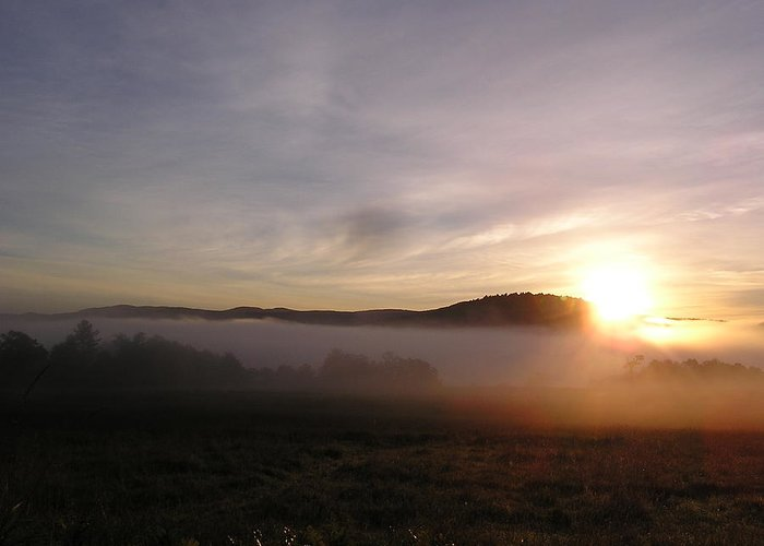 Sunrise In New Hampshire Greeting Card featuring the digital art Sunrise by Jashobeam Forest