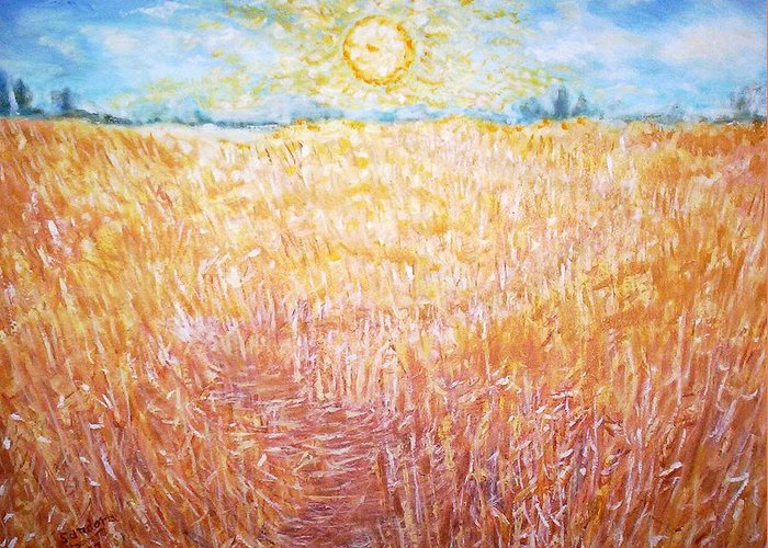 Landscape Dawn Wheat Sun Greeting Card featuring the painting Sunrise by Joseph Sandora Jr