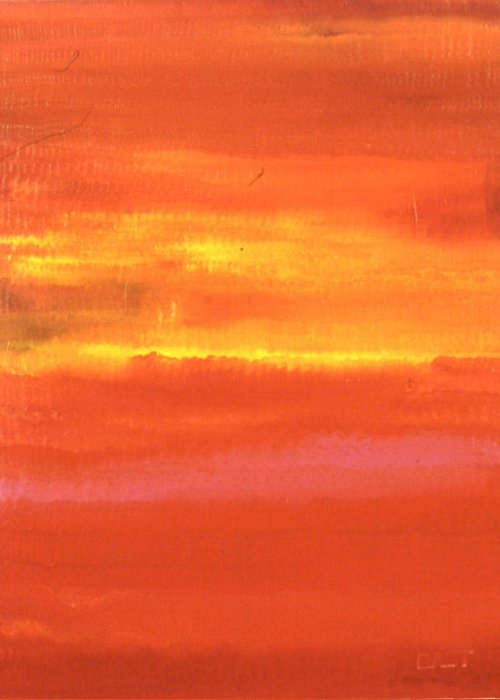 Landscape Greeting Card featuring the painting Sunrise by Lloyd Bast