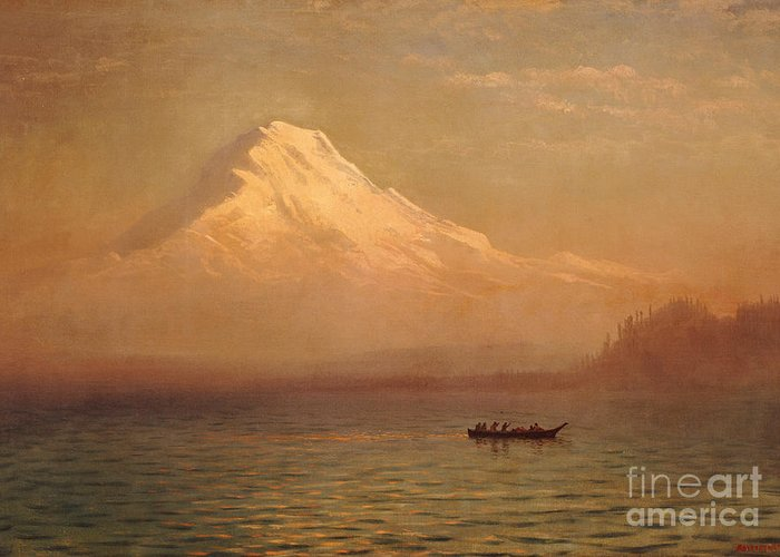 American; Landscape; Mount Rainier; Mt; Washington State; Mowich Lake; Volcano; Mountain; West; Western; Northwest; Wilderness; Boat; Dawn; Snowcapped; Snow-capped Greeting Card featuring the painting Sunrise On Mount Tacoma by Albert Bierstadt