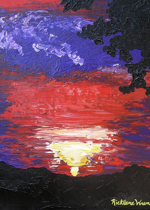 Sunrise Greeting Card featuring the painting Sunrise On Saturday by Ricklene Wren
