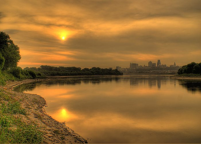 Missouri River Greeting Card featuring the photograph Sunrise On The Missouri River by Don Wolf