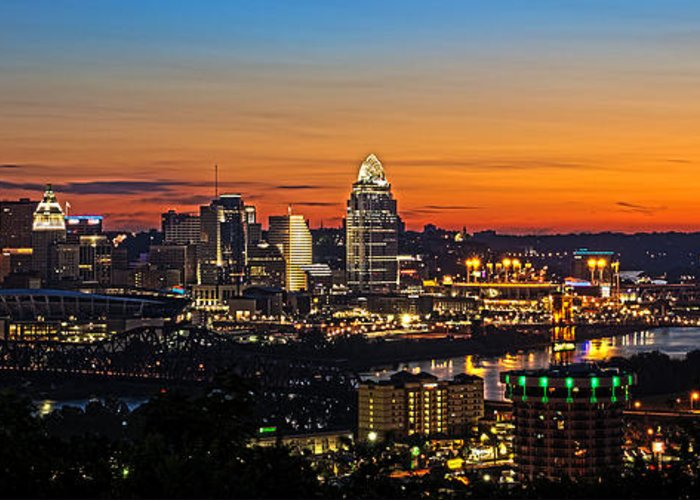Sunrise Greeting Card featuring the photograph Sunrise Over Cincinnati by Keith Allen
