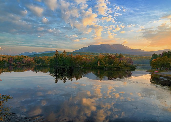 Maine Greeting Card featuring the photograph Sunrise Over Mt. Katahdin by Jesse MacDonald