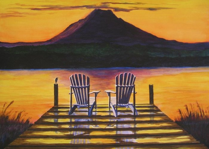 Mt. Rainier Greeting Card featuring the painting Sunrise Over Rainier by CB Woodling