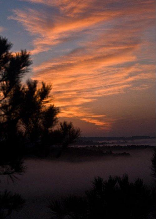 Sunrise Greeting Card featuring the photograph Sunrise Over The Mist by Douglas Barnett