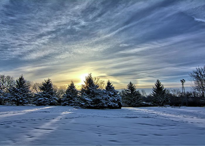 Snow Greeting Card featuring the photograph Sunrise Pines by Bonfire Photography