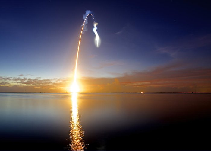 Rocket Greeting Card featuring the photograph Sunrise Rocket by Patrick Anderson