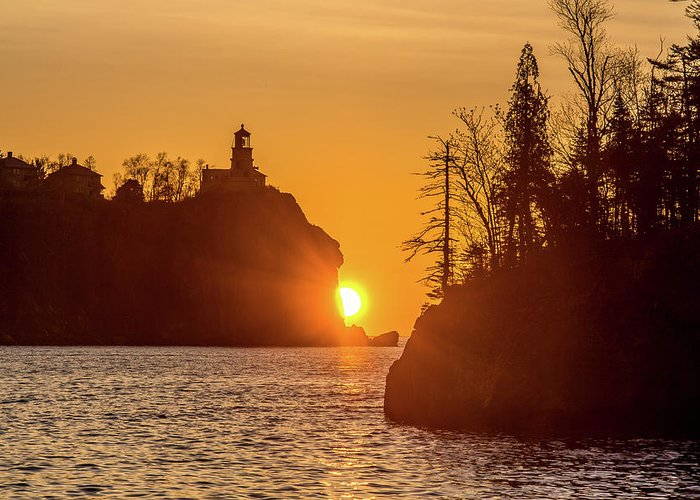 Split Rock Lighthouse Greeting Card featuring the photograph Sunrise Split Rock State Park by Paul Freidlund