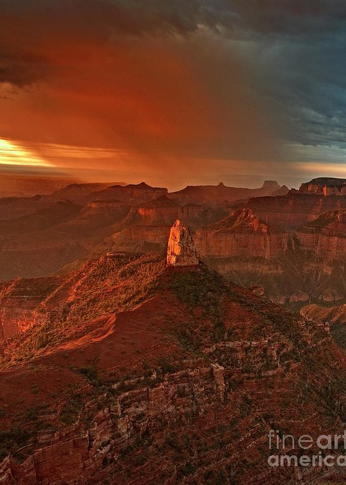 Dave Welling Greeting Card featuring the photograph Sunrise Storm Mount Hayden Grand Canyon Arizona by Dave Welling