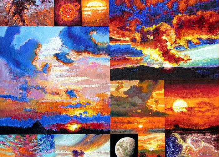 Sunrise Greeting Card featuring the painting Sunrise Sunset Sunrise by John Lautermilch